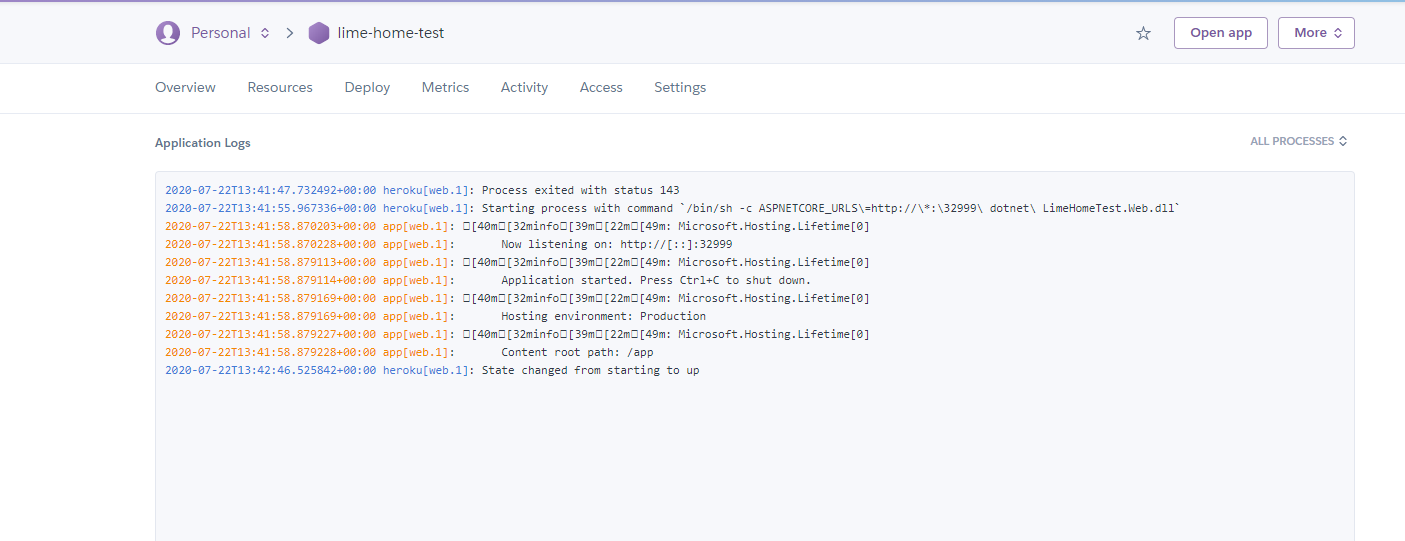Free .net core hosting on Heroku through Docker and GitHub. Deploy with Unit-tests. Commit is processing to the log