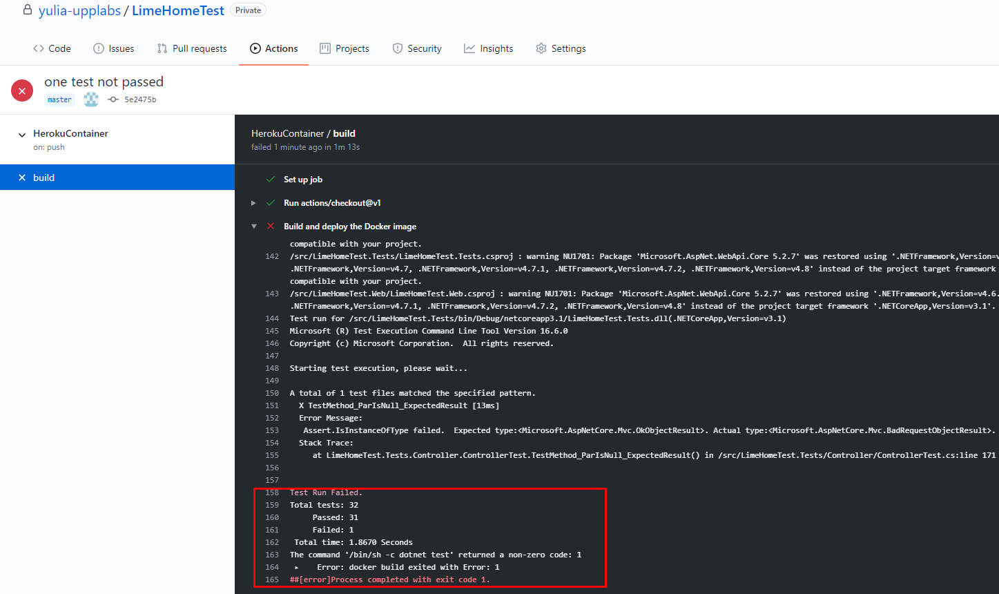 Free .net core hosting on Heroku through Docker and GitHub. Deploy with Unit-tests. Push to the master branch.